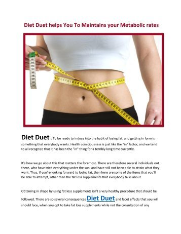 Diet Duet helps You To Maintains your Metabolic rates