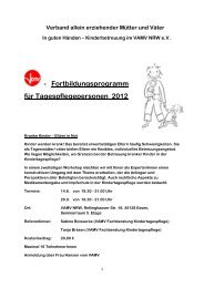 - Fortbildungsprogramm für Tagespflegepersonen ... - (VAMV) in NRW