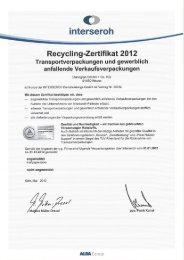 Interseroh Recycling-Zertifikat 2012 - Danogips
