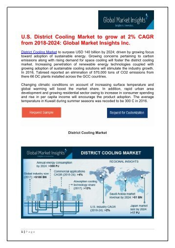 District Cooling Market in annual energy consumption will reach over 300 PJ by 2024