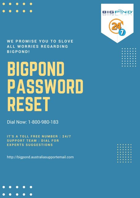 Solve Bigpond Password Reset  Issue At 1-800-980-183
