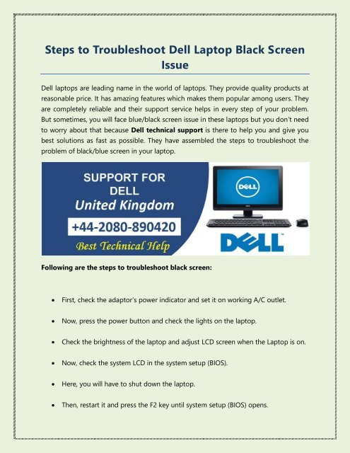 Steps to Troubleshoot Dell Laptop Black Screen Issue