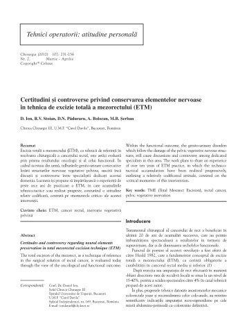 Tehnici operatorii: atitudine personalã - Chirurgia