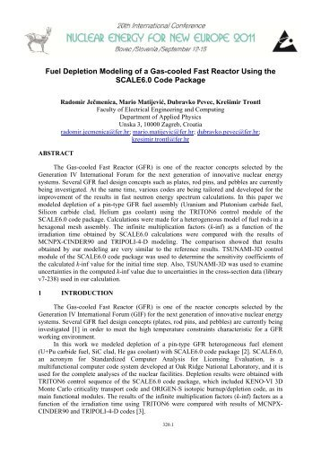 Fuel Depletion Modeling of a Gas-cooled Fast Reactor Using the ...