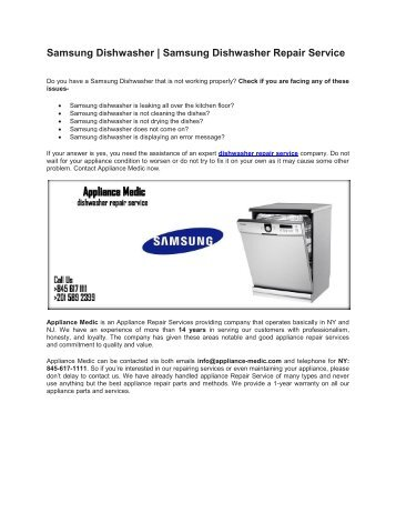 Samsung Dishwasher Repair Service