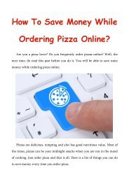 How To Save Money While Ordering Pizza Online?
