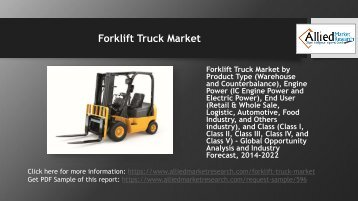 Why Forklift Truck Market is set to grow in the coming years?