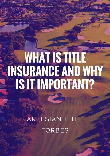 WHAT IS TITLE INSURANCE AND WHY IS IT IMPORTANT_