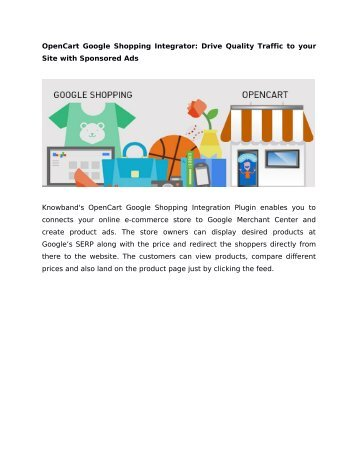 OpenCart Google Shopping Integrator: Drive Quality Traffic to your Site with Sponsored Ads