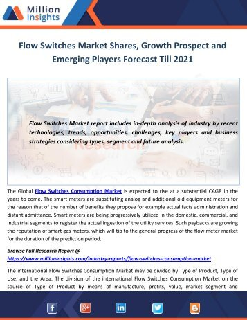 Flow Switches Market Shares, Growth Prospect and Emerging Players Forecast Till 2021