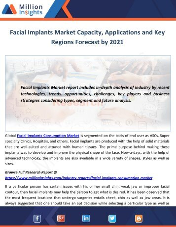 Facial Implants Market Capacity, Applications and Key Regions Forecast by 2021