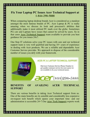 Fix Your Laptop PC Issues Acer Technical Support at 1-844-298-5888