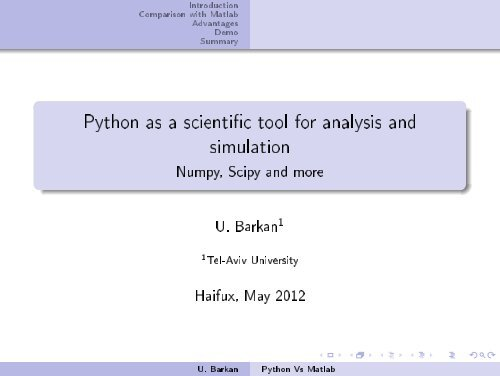 Python as a scienti c tool for analysis and simulation