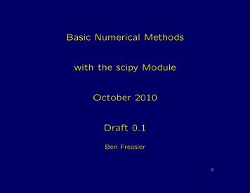 Basic Numerical Methods with the scipy Module October ... - C3SE