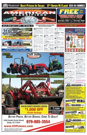 American Classifieds/Thrifty Nickel July 5th Edition Bryan/College Station