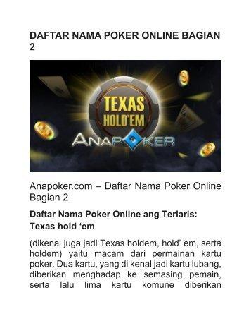 DAFTAR NAMA POKER ONLINE BAGIAN 2
