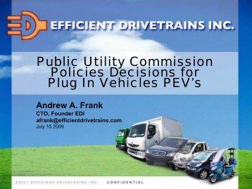 Professor Andy Frank, UC‐Davis, Efficient Drivetrains, Inc