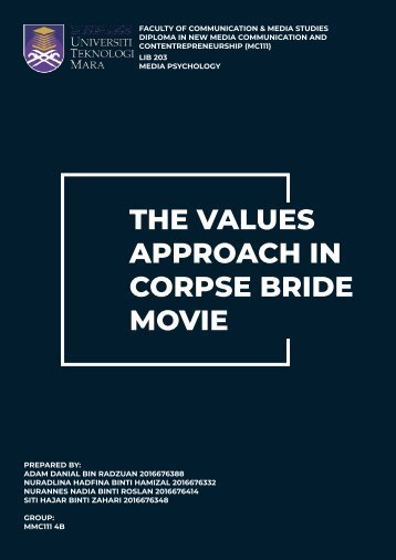 The Values Approach In Corpse Bride Movie