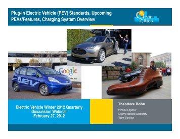 Plug-in Electric Vehicle (PEV) Standards, Upcoming PEVs ... - EERE