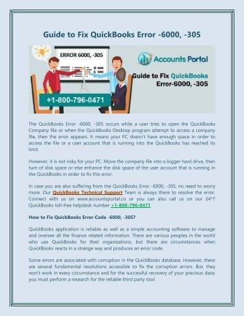 1-800-796-0471 : Fix QuickBooks Error -6000, -305, Support & Solution