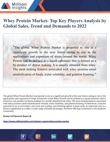 Whey Protein Market- Top Key Players Analysis by Global Sales, Trend and Demands to 2022