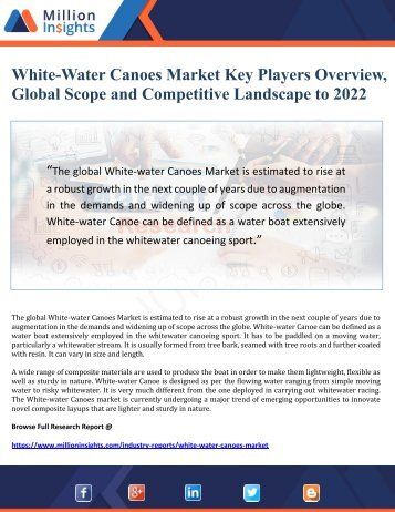White-Water Canoes Market Key Players Overview, Global Scope and Competitive Landscape to 2022