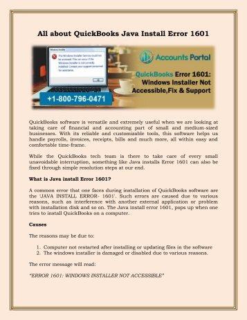 1-800-796-0471 : QuickBooks Error 1601: Windows Installer Not Accessible, Fix & Support