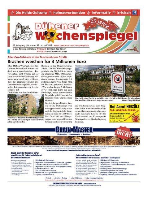 Dübener Wochenspiegel - Ausgabe 12 - Jahrgang 2018