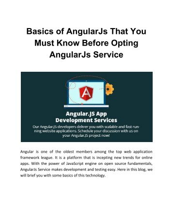 Basics of AngularJs That You Must Know Before Opting AngularJs Service