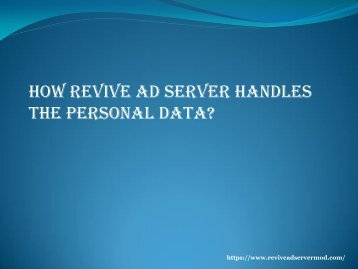 how revive ad server can handle the personal data