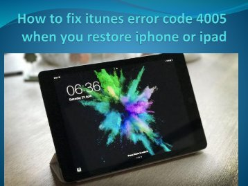 How to fix itunes error code 4005 when you restore iphone or ipad