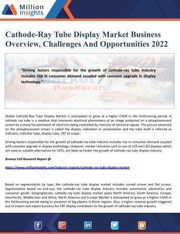 Cathode-Ray Tube Display Market Business Overview, Challenges And Opportunities 2022