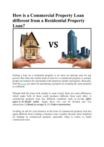How is a Commercial Property Loan different from a Residential Property Loan