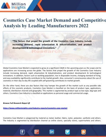 Cosmetics Case Market Demand and Competitive Analysis by Leading Manufacturers 2022