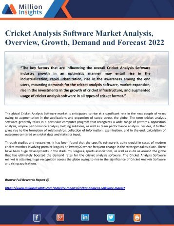 Cricket Analysis Software Market Analysis, Overview, Growth, Demand and Forecast 2022