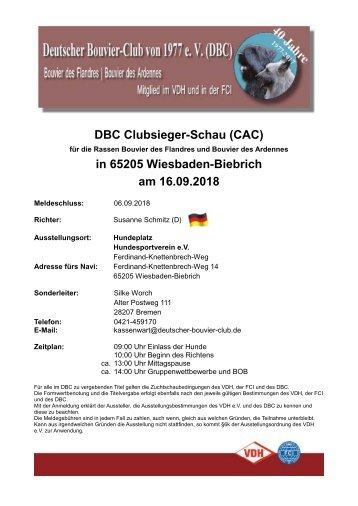 Einladung DBC Clubsieger-Schau 2018