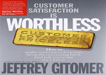 PDF Customer Satisfaction is Worthless Customer Loyalty is Priceless | Online
