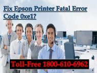 Fix Epson Printer Fatal Error Code 0xe1