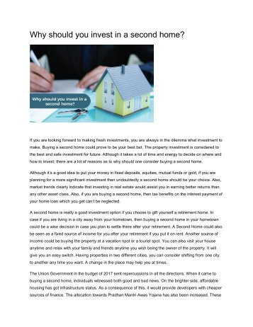 Why should you invest in a second home