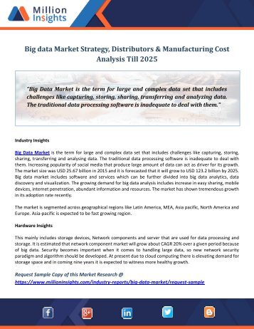 Big data Market Strategy, Distributors & Manufacturing Cost Analysis Till 2025