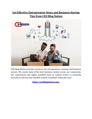 Get Effective Entrepreneur News and Business Startup Tips from CEO Blog Nation