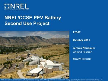 NREL/CCSE PEV Battery Second Use Project