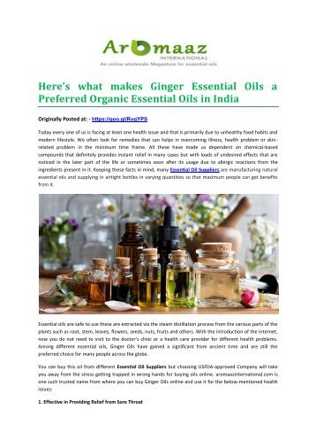 Here's what makes Ginger Essential Oils a Preferred Organic Essential Oils in India