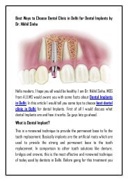 How to Choose Best Dental Clinic in Delhi for Dental Implants by Dr