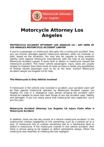 Motorcycle Attorney Los Angeles