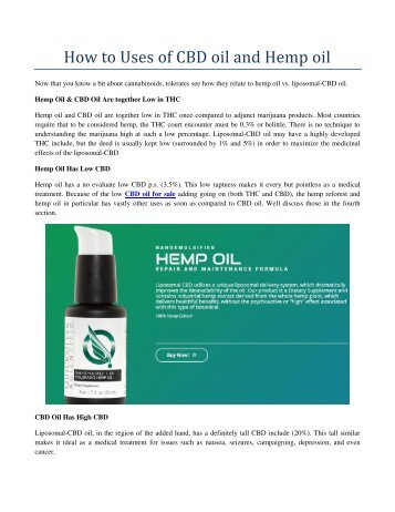 How to Uses of CBD oil and Hemp oil