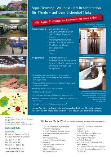 Aqua-Training, Wellness und Rehabilitation für Pferde – auf dem ...