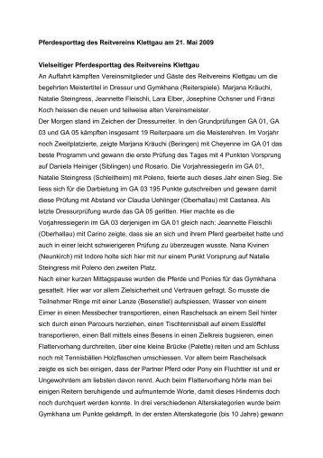 Rangliste und Bericht Vereinssdressur und Reiterspiele 2009 (pdf