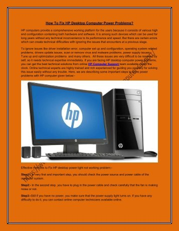 How To Fix HP Desktop Computer Power Problems.docx