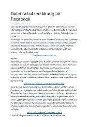Datenschutzerklärung für Facebook